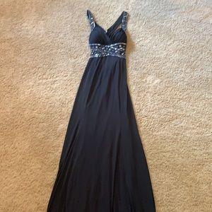 9/10 black sequin silver stunning long dress